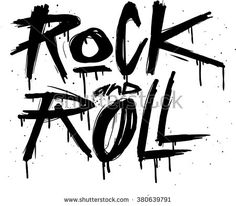 Hand draw sketch Rock and Roll illustration. Rock and Roll tattoo print. - stock vector