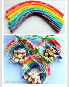 Patty idea for kids! Rollos and rainbows in a bag tied with a green tie! Diy Rainbow Birthday Party, Rainbow Birthday Decorations, Girl Birthday Themes, Rainbow Parties, Birthday Parties, Birthday Ideas, Girl Parties, Girl Themes, Unique Party Themes