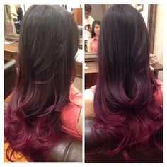 Balayage purple color...I love this color purple, the purple in my hair is s bit too dark. I like that you can really see this purple. Getting this color purple the next time I get my hair done.