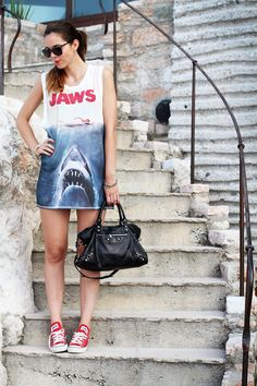 lo squalo! cool outfit look with converse and balenciaga for summer beach!  summer holidays 2013 www.ireneccloset.com