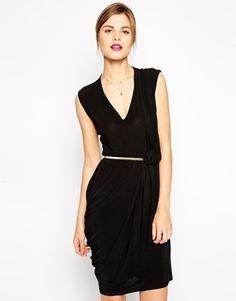 ASOS Crepe Pencil Dress with V Neck and Metal Belt - Black