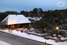Roque Garden on the riverbank sees snow.