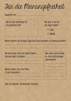 Fragebogen auf Kraftpapier