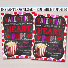 Popcorn Valentine's Day Gift Tags, Friend Classroom Classmate Printable, Valentine You Make My Heart Pop Tags, Teacher Valentine, Valentine Day Gifts, Valentine Ideas, Valentine Wreath, Printable Tags, Printables, Printable Valentine, Pop Tag, Popcorn Gift