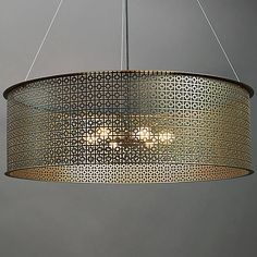 Shown in New Brass finish, Large, Angles Pattern
