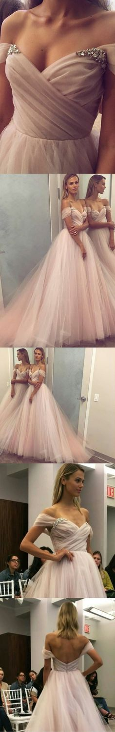 A-Line Off-the-Shoulder Court Train Pearl Pink Tulle Prom Dress with Beading M0745#prom #promdress #promdresses #longpromdress #promgowns #promgown #2018style #newfashion #newstyles #2018newprom#eveninggowns#offshoulderpromdress#pearlpinkprom#beading#courttrain