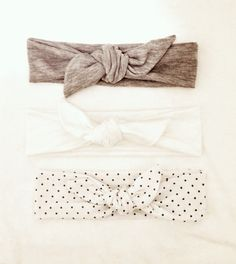 Tie Knot Headband - gray - black - jersey knit - bow - tie knot - stretchy - teen, adult on Etsy, $7.95