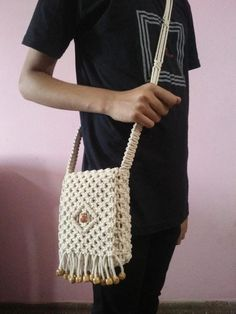 beautiful sling purse cross body in pure cotton handmade with macrame knots one of a kind Macrame Bag, Macrame Knots, Handmade Gifts For Her, Designer Wallets, Purse Patterns, Fashion Advice, Cross Body Handbags, Purses And Bags, Cool Style