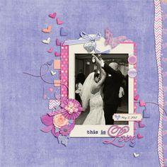 A beautiful scrapbook layout by Kathryn using It Must Be Love by Bekah E Designs