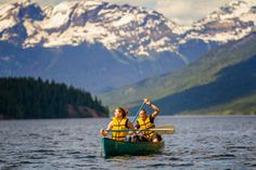 Canoeing in Wells Gray Provincial Park provides a unique perspective on British Columbia towering mountains and peaks.