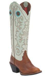 Tony Lama 3R Women's Tawny Pronto w/ Turquoise Glitz Top Round T-Toe Buckaroo Western Boots | Cavender's