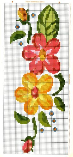 Gráficos de Ponto Cruz e fotos de trabalhos! Cross Stitch Bookmarks, Cross Stitch Borders, Modern Cross Stitch Patterns, Cross Stitch Flowers, Cross Stitch Designs, Cross Stitching, Cross Stitch Embroidery, Embroidery Patterns, Hand Embroidery