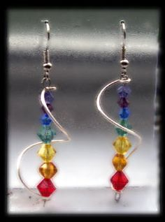 #Chakra #earrings with swarovski crystals representing the colors of our Chakras. $13