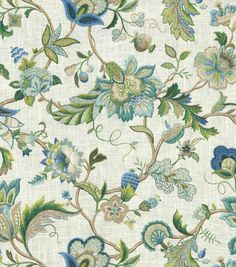 Upholstery Fabric-Vanderbilt Sapphire-valance idea for kitchen, laundry room or living room.