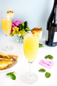 Uncork, pour and enjoy this sweet Pineapple & Bubbles cocktail – a refreshing, tropical twist on a classic mimosa. This is an easy recipe to make and only requires a few ingredients (gin, pineapple juice, sparkling white wine and Sweet'N Low.) This delightful, fruity beverage is perfect for Easter, Mother's Day or your weekend brunch festivities!