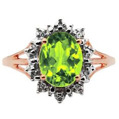 Diamond Oval Peridot Gemstone Rose Gold Starburst Ring Available Exclusively at Gemologica.com