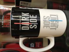 "Do you like your coffee on the ""Dark side"" or do you enjoy coffee with milk, on the ""Light side""? Don't fight the force, drink coffee. #coffeemugs #mrcoffee"