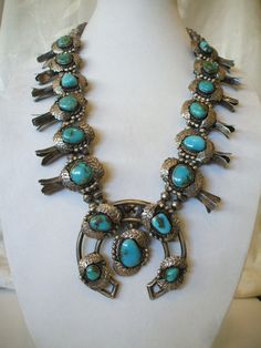 Big Heavy Vintage NAVAJO Deep Blue TURQUOISE & Sterling Silver Squash Blossom NECKLACE, 327g. TurquoiseKachina, $1235.00