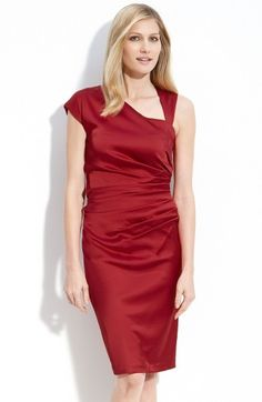 Free shipping and returns on Suzi Chin for Maggy Boutique Asymmetric Stretch Satin Sheath Dress at Nordstrom.com. A cap sleeve and a narrow shoulder strap create the asymmetric neckline of a stretch-satin sheath defined by a sunburst of pleats at the waist that sculpt curves into the slim style.