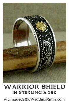 Celtic Warrior Shield Wedding Band with Bead — Unique Celtic Wedding Rings Irish Wedding Rings, Wedding Bands, Celtic Shield, Men's Jewelry, Jewellery, Celtic Warriors, Irish Celtic, Sterling Silver Rings, Rings For Men