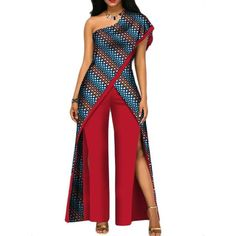 African Top-Pant Set For Women Sexy Off Shoulder Jumpsuit Dashiki Dashiki African jumpsuit – African Attire, African Wear, African Dress, Latest African Fashion Dresses, African Print Fashion, African Print Jumpsuit, Off Shoulder Jumpsuit, African Traditional Dresses, Ladies Dress Design