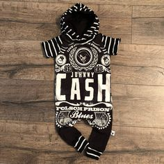 Johnny Cash Classic Country Romper/Dress/Hoodie The Wild Bambino - September 07 2019 at Toddler Outfits, Baby Boy Outfits, Kids Outfits, Johnny Cash, Romper Dress, Hoodie Dress, Southern Baby, Custom Baby Gifts, Cute Baby Clothes