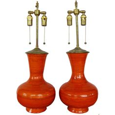 Stunning And Vibrant Orange Ceramic Vases With Lamp Application