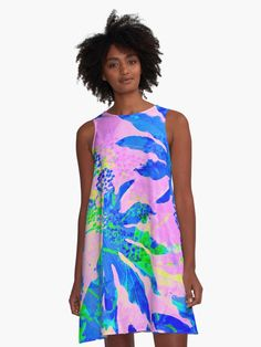 Buy 'TROPICAL JUNGLE in Neon Blue, Apple Green and Pink' A-line Dress | . Design by Dominique Vari . | Redbubble . | . Abstract pattern created with Fatsia Japonica Tropical Leaves. The Neon colours and texture bring an adventurous, vibrant and fresh feel to this summer dress. Ideal outfit for all adventurers, and tropical nature lovers. Great lifestyle design on apparel, dress, tops, tank tops.