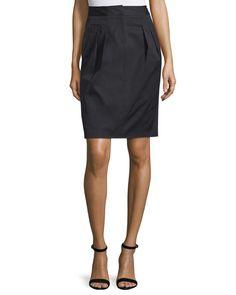 Valentino  Pleated-Front Pencil Skirt, Nero