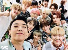 SEVENTEEN went to greet Seungri on Inkigayo yesterday. 😊 Mingyu's not there because he's mc-ing Daesung, Bigbang, G Dragon, Top Choi Seung Hyun, Seventeen Jun, Celebs, Celebrities, Mingyu, Nct Dream