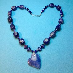 You Must Love One Only BLUE GEMS Rich Blue Heart+Lapis Necklace+FREE Earrings+Sodalite+Sale 10. Off Reg. Price by TjeansJewelry on Etsy