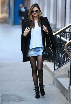 denim skirt. Miranda #offduty in NYC. #MirandaKerr