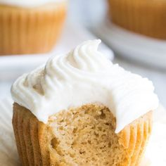 """Paleo Vanilla Cupcakes with """"Buttercream"""" Frosting. Paleo Vanilla Cupcakes with """"Buttercream"""" Frosting Recipes These paleo vanilla cupcakes are so light, fluffy, moist, and swe. Paleo Frosting, Buttercream Frosting For Cupcakes, Frosting Recipes, Vanilla Buttercream, Paleo Sweets, Paleo Dessert, Dessert Recipes, Desserts, Paleo Recipes"""