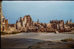 During World War II of Warsaw was destroyed. Dramatic snaps in colour show the centre of the city, including Śródmieście, Old Town and m. World War Two, Old World, Poland History, Warsaw Ghetto, Germany Poland, Old Town, Old Photos, Wwii, Monument Valley