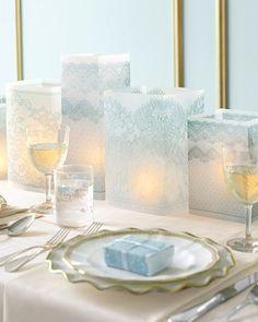 Castiçais para velas feitos de sacos de papel decorado