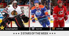"nhl: ""The NHL 3 stars of the week: 1: Corey Crawford 2: Taylor Hall 3: Justin Faulk"""