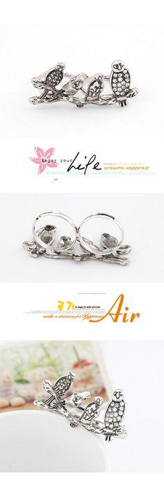 Floating Antique Silver Magpie Double Finger Rings Alloy Korean Rings,Korean Rings