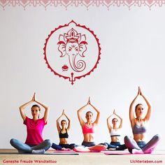 Ganesha Wandtattoos dienen deiner Glücksoase und wirken einzigartig. Ein Motivationssymbol in jedem Yogaraum #lichterleben#wandtattoos