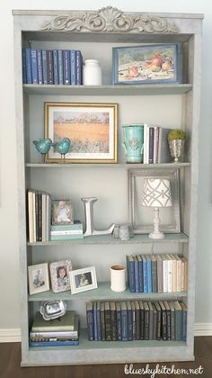 Ugly consignment store bookcase becomes a focal point in the living room ~ How I Decorated My Transformed Bookcase