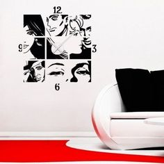Style and Apply Comic Wall Clock Wall Decal Color: Yellow