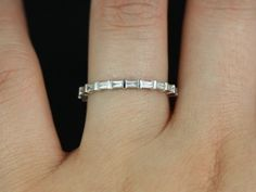 White Gold Thin Horizontal Baguette Diamond Eternity Band (Other Metals and Stone Options Available) Baguette Ring, Baguette Diamond, Eternity Ring Diamond, Eternity Bands, Diamond Bands, Bling Bling, 14 Carat, Anniversary Bands, Band Rings
