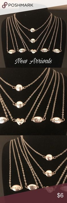 Delicate Words on Handmade Chains Delicate words around your neck on a handmade chain.  Pick from Love, Love, Hope, Dream, Laugh, Truth, or Faith.  The charms are hollow and the oval measure 3/4 inches; round measures 1/2 inches; and heart measures 1/2 inches.  The chain is 18 inches long, but can be longer or shorter upon request.  Make an offer today! Sidlee Jewelry Jewelry Necklaces