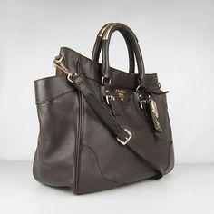 Prada Cowhide Leather Top Handle Bag Dark Coffee 1558 at $397