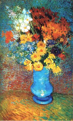 Vincent van Gogh Vase with Daisies and Anemones (Flowers in a Blue Vase) 1887