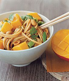 Peanut noodles with mango - These noodles are the perfect thing to bring to or serve at a party. They can be made hours, even a day, ahead of time.