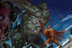Hulk vs Saitama, InHyuk Lee on ArtStation at https://www.artstation.com/artwork/85Xdn