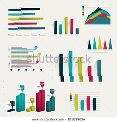 Set of business flat, 3D design graph. Infographics charts.