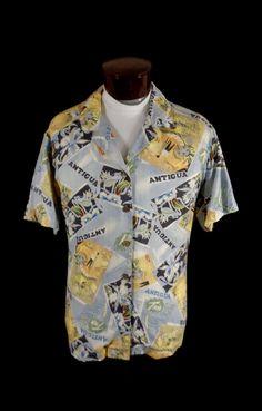 Vintage Island Traders Antigua Travel Tour Print Hawaiian Shirt – 58 Chest -VLV  #IslandTraders #Hawaiian #Doyoureallyneedone