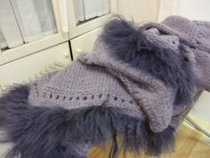 Extra long scarf. with applications in Mongolian goatskin