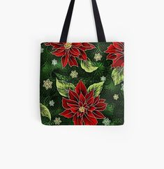 Floral Tote Bags, Cotton Tote Bags, Reusable Tote Bags, Green Christmas, Christmas Themes, Christmas Gifts, Large Bags, Small Bags, Medium Bags